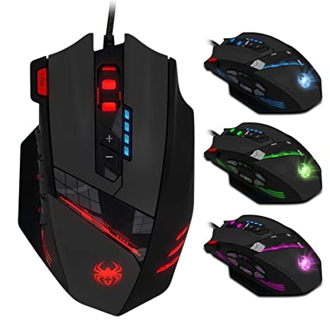 913a2ec1d83 Zelotes 12 Programmable Buttons MMO Gaming Mouse,8 Adjustable Weights,4000  DPI (Up