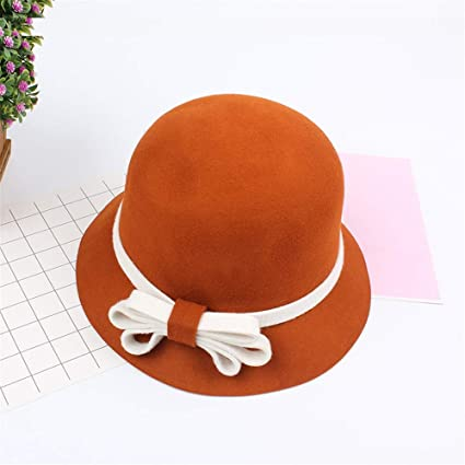 f0cd0fba837e1c Jxth Vintage Fedora Bowler Caps Wide Brim Wool Felt Ribbon Bow Winter Floppy  Hats Bowler Hats For Women Work Party Outdoor Travel (Color : Orange): ...