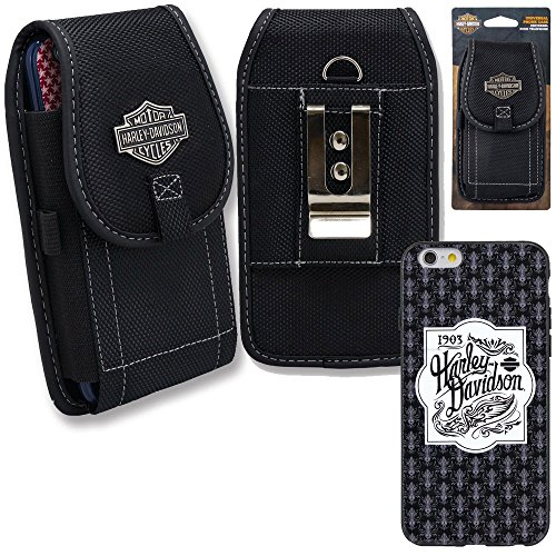 Harley Davidson iPhone 7 Semi Rigid TPU 1903 Script Cover with Vertical Nylon Harley Davidson Riding Case. (Harley Ipad Davidson Case)