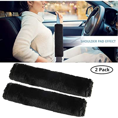 Moonet Auto Seat Belt Shoulder Pad, Soft Faux Sheepskin Wool Universal Seatbelt Cover for More Comfortable Driving,Multipurpose for Handbag Carmera Backpack Straps,2pc(Black): Automotive