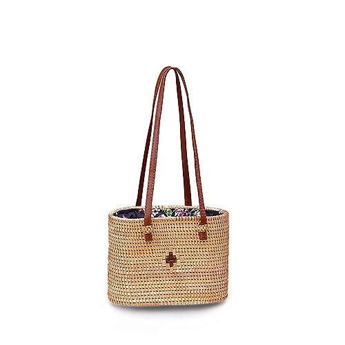 Amazon.com: Bolsas de ratán ovaladas para mujer, con asa ...