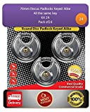 Pack of 24, JANSEL Keyed Alike 70mm Round Disc Padlock with Shielded Shackle, 2-3/4-inch, Stainless Steel Round Disc Storage Pad Locks All the same key