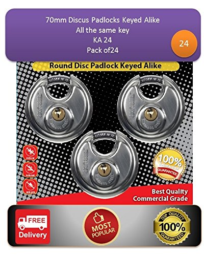 (Pack of 24, JANSEL Keyed Alike 70mm Round Disc Padlock with Shielded Shackle, 2-3/4-inch, Stainless Steel Round Disc Storage Pad Locks All the same)