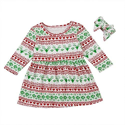 Silhouette Infant Bodysuit (Baby Dresses,WuyiMC Christmas Newborn Toddler Baby Girls Boy Pajamas Mini Dress with Headband (70CM, Multicolor))