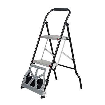 DlandHome - Carrito de mano plegable y escalera de 2 peldaños multiusos para equipaje y escalera: Amazon.es: Industria, empresas y ciencia