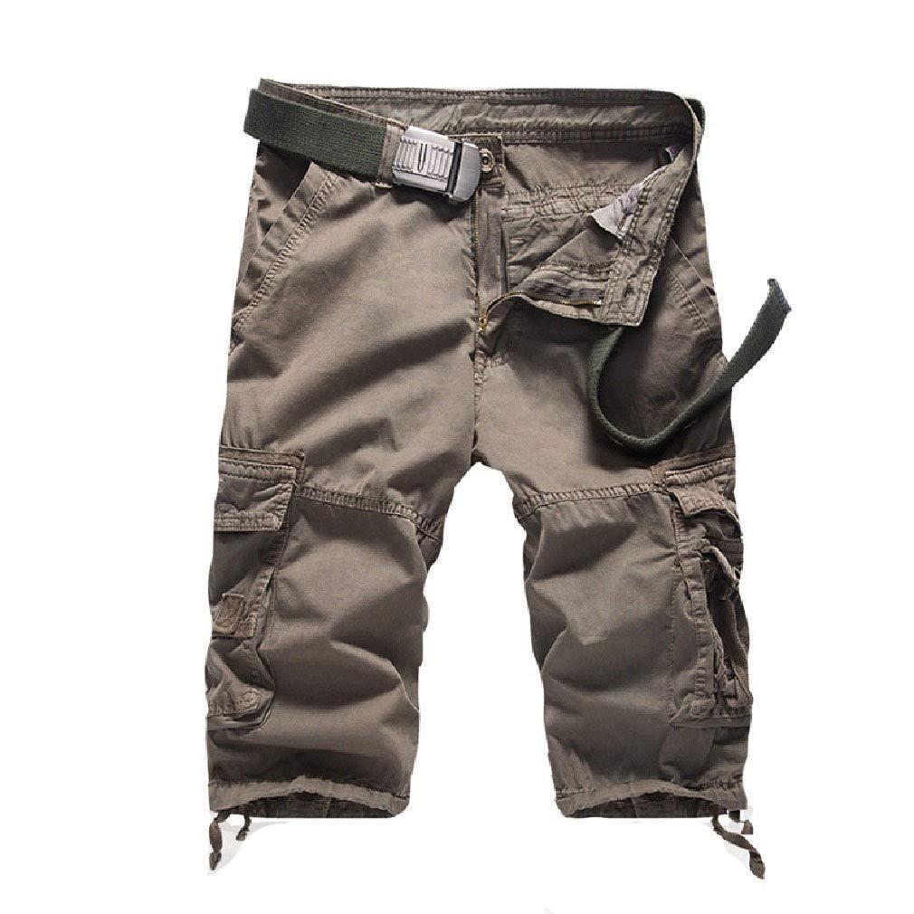 Comaba Mens Rugged Wear Loose Multi Pockets Short Pants Skinny Cargo Pants