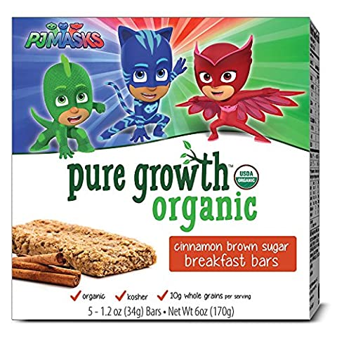 Pure Growth Organic PJ Masks Breakfast Bar, Cinnamon Brown Sugar, 6 Ounce, 6 Count - Cinnamon Organic Sugar