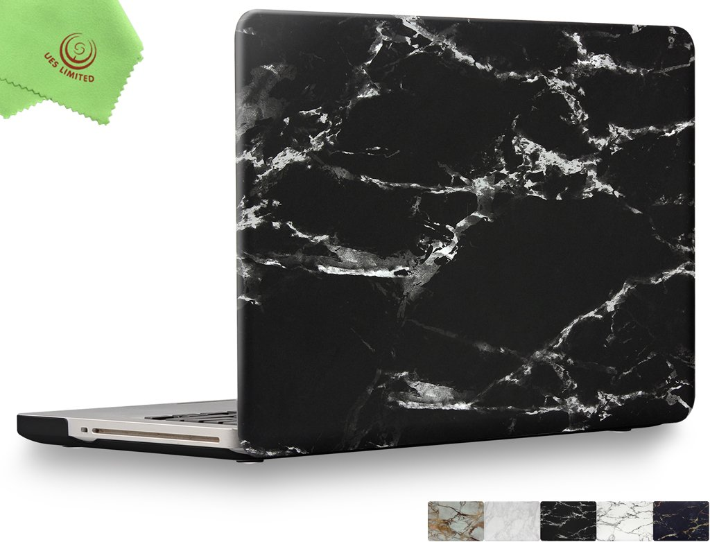 UESWILL Marble Pattern Smooth Soft-Touch Hard Shell Case Cover for MacBook Pro 15'' with CD-ROM (Non-Retina)(Model:A1286) + Microfibre Cleaning Cloth, (Black/ White)