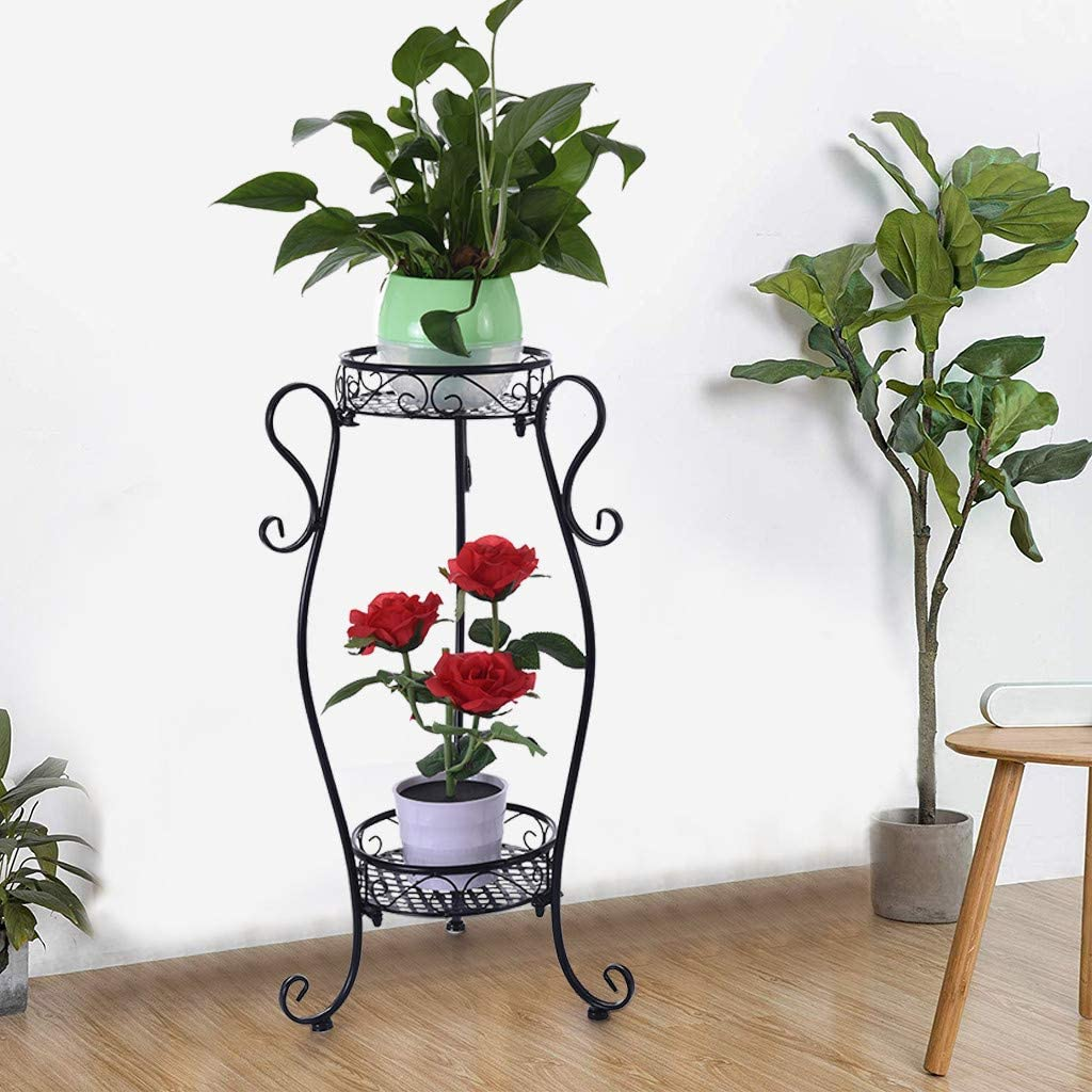 [Ship from US] 2-Tier Metal Potted Plant Stand, 32 inch Rustproof Decorative Flower Pot Rack with Indoor Outdoor Iron Art Planter Holders Garden Steel Pots Containers Supports Corner Display Stand