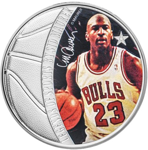 4aeceb1c2504 Michael Jordan Legends of Sports Sidney Maurer 1 oz Silver Coin 5 Solomon  Islands 2018