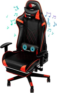 SOUTHERN WOLF Gaming Chair with Massage Function - Bluetooth Office Swivel Chair with Racing Style - Ergonomic Home Office Chair with Armrest Footres Headrest and Lumbar Support (Red)