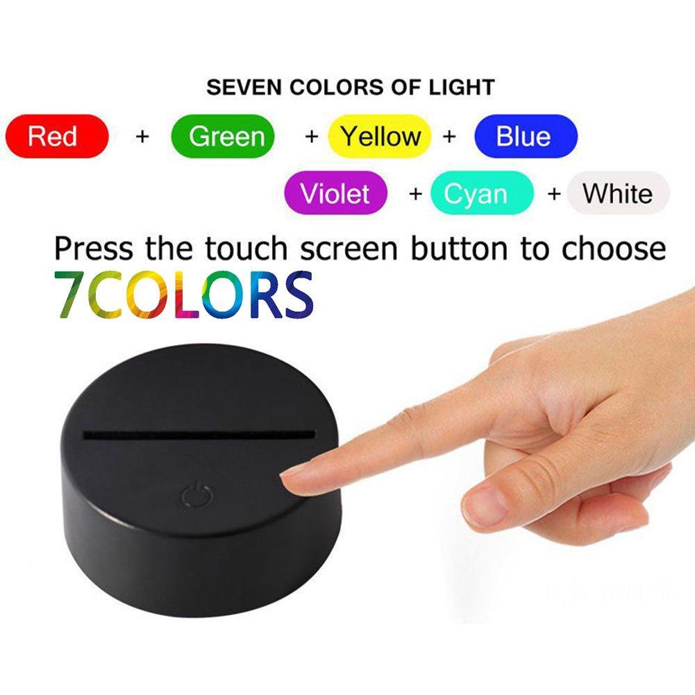 Lampara Nocturna, Lámpara de Escritorio de la luz luz luz de la Noche de la ilusión óptica 3D LED USB/Control táctil con Pilas 7 Regalos de cumpleaños de los Colores para los niños (Resumen) 0bf994