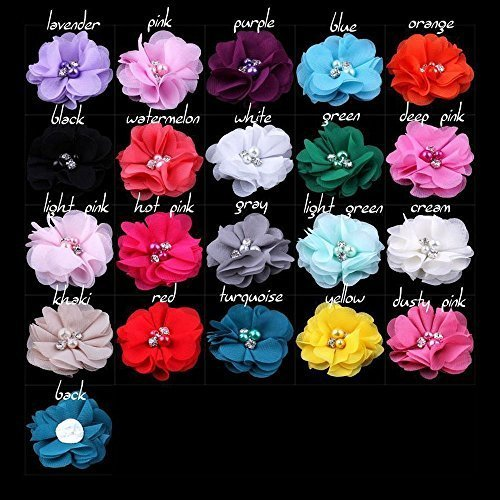 Pack of 20PCS Mixed Colors Flat-bottomed Beautiful DIY Handmade Decorative Chiffon Flowers with Pearl and Rhinestone for Hair Clips, Scrapbooking and More Decoration,Wedding Flowers(20Pcs) by LEECOCO