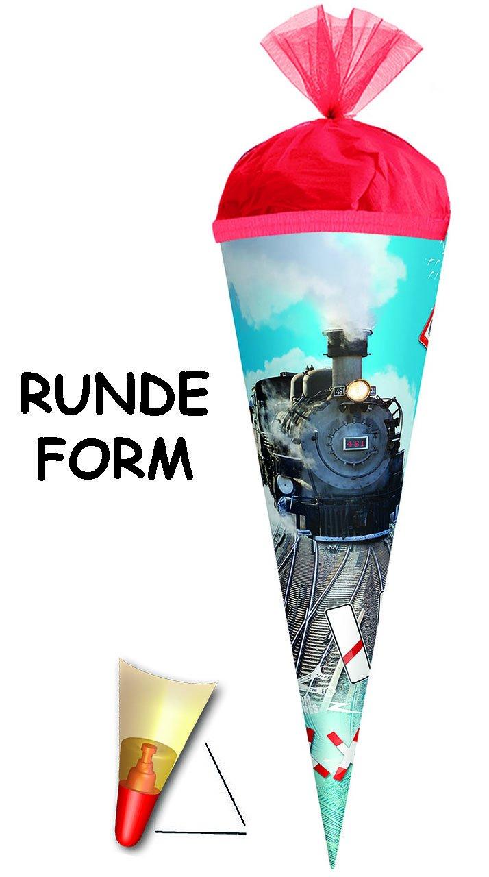 Alles-meine  GmbH mit Sound Effekt & LED Licht Licht Licht   - Schultüte -  Eisenbahn - Lokomotive  - 85 cm - 6 eckig - incl. individueller Schleife - Organza Abschluß - Zuckertüte Roth .. B01FXXETY6    | Die Königin Der Qualität  d8643b