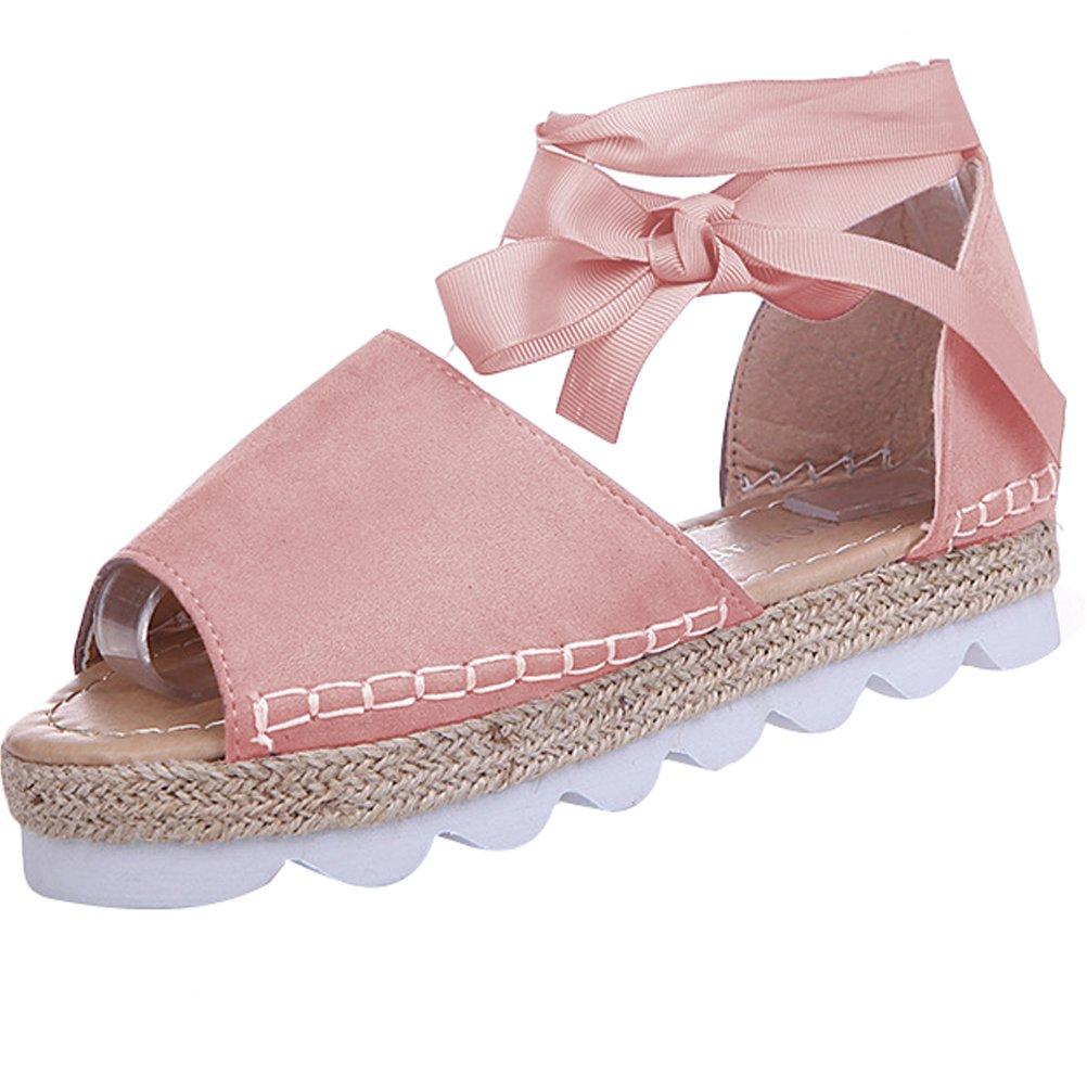 MatchLife Damen Sandalen Flache Badesandale Sommer Lace up Platform Schuhe Casual Flip-Flops  38 EU Rosa