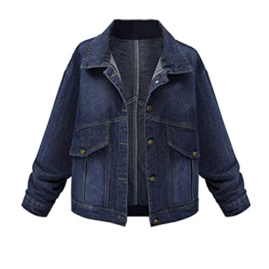 ❤ Chaqueta de Jean para Mujer, Moda Mujer Tallas Grandes Manga Larga Tops Denim Outcoat Pockets Jean Outwear Absolute: Amazon.es: Ropa y accesorios
