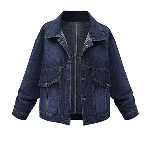 Faionny Women Plus Size Coat Denim Outcoat Pockets Jean Jacket Solid Overcoat Blazer Parka Windbreaker Winter Outwear at Amazon Womens Clothing store: