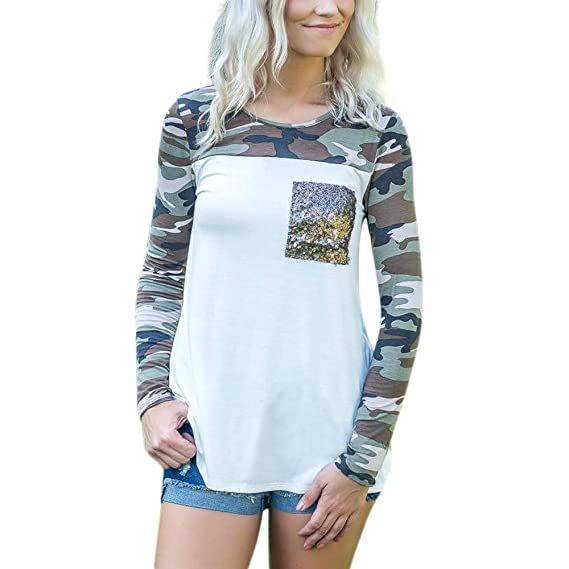 Logobeing Bolsos de Lentejuelas Impresas Camuflaje Manga Larga de Moda para Mujer Blusas Tops Camisetas (