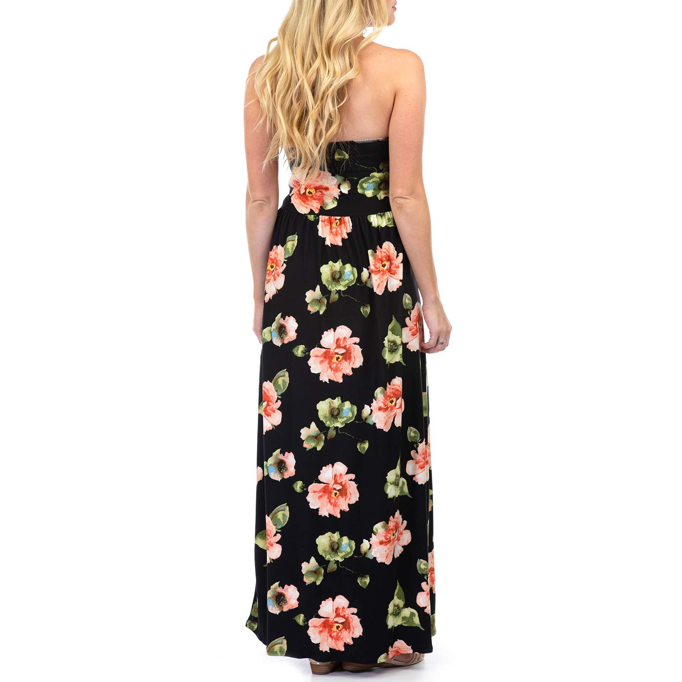 16c5ec0b3dbc0 Women's Strapless Ruched Maxi Tube Maternity Dress with Pockets by Rags and  Couture - Made in USA at Amazon Women's Clothing store: