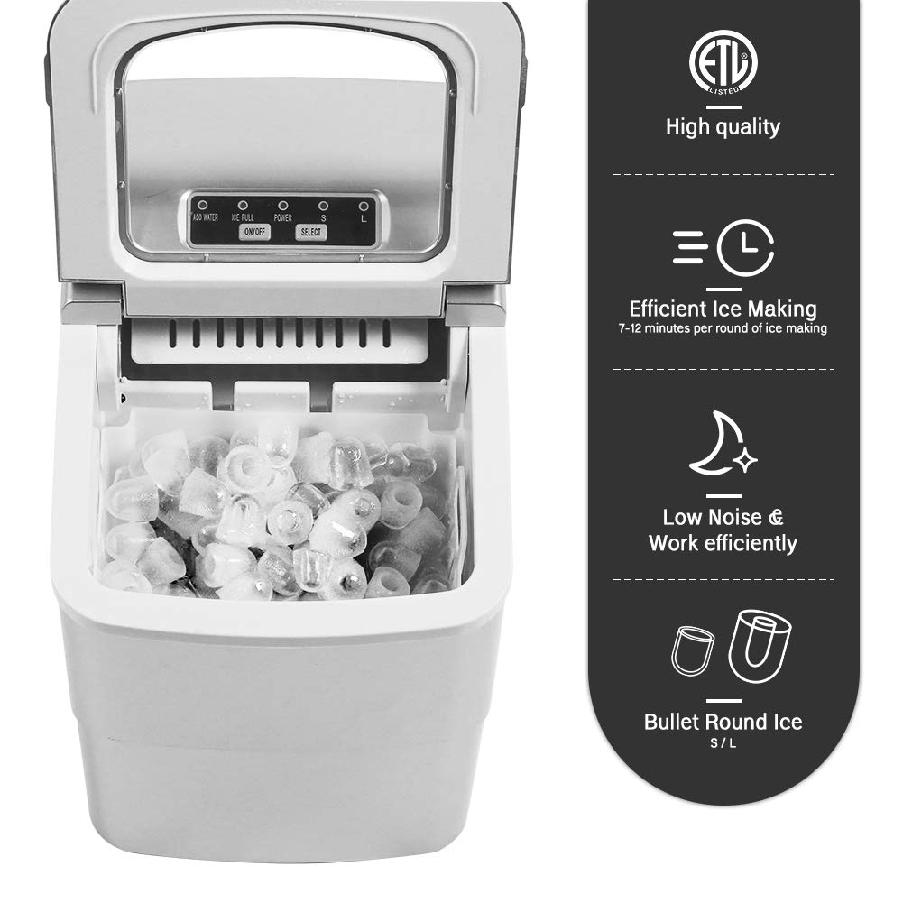 YODOLLA Portable Ice Maker Machine Make 26 lbs Ice in 24 Hrs with Ice Scoop and Basket,LED Display Perfect for Parties Mixed Drinks