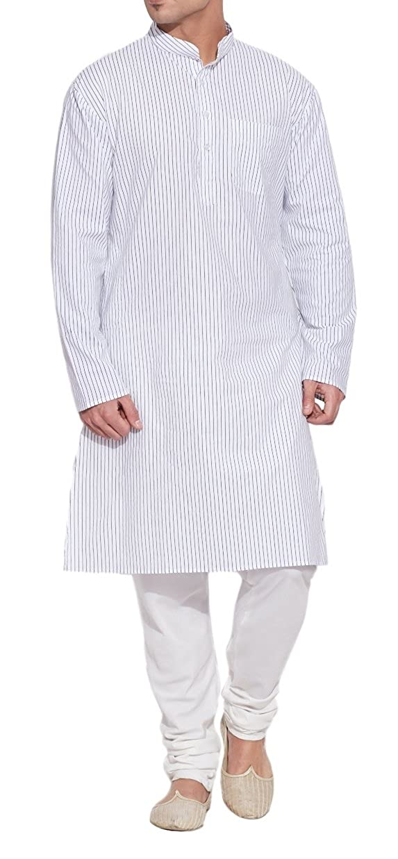 Shaliindia Men Cotton Long Kurta Nehru Collar 3 pockets, Ivory Shalincraft MN-M-CLK34-1029-p