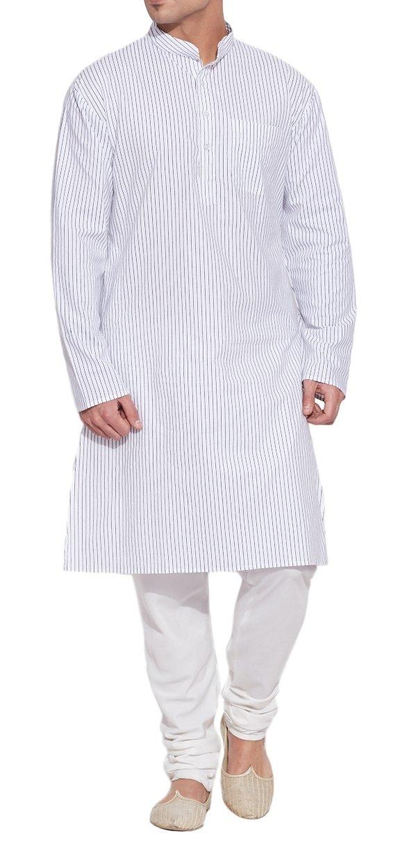 ShalinIndia Men Cotton Long Kurta Nehru Collar 3 pockets-Ivory-Size 38 Inch