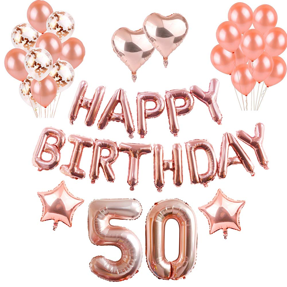 50th Birthday Decorations Puchod Balloons Confetti Happy Banner Rose Gold 50 Foil Party