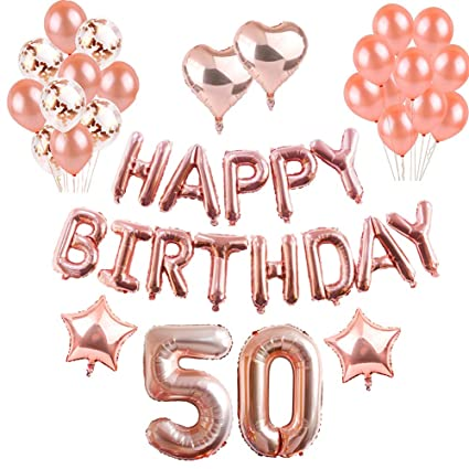 Puchod 50th Birthday Decorations Balloons Confetti Happy Banner Rose Gold 50