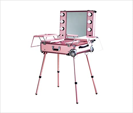 Lasomme Portable Makeup Vanity Table With Lighted Mirror L (Pink)