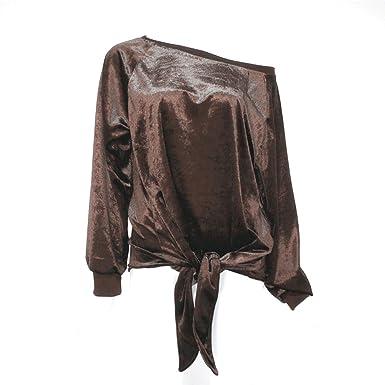 1b6d317a13 Amazon.com  Cyclamen9 Women Tops Off Shoulder with Bow Tie