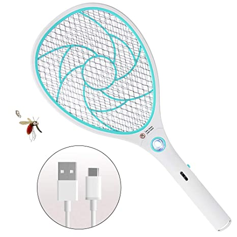 Bug Zapper Racket,Electric Fly Swatter,Rechargeable Mosquito Fly Killer - USB Charging -