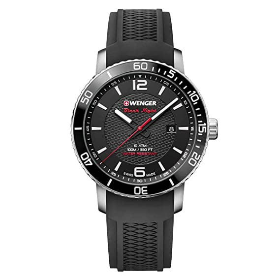 Amazon.com: Wenger 01.1841.102 Mens Roadster Black Night Black Dial Watch: Watches