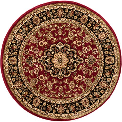 - Noble Medallion Red Persian Floral Oriental Formal Traditional 4 Round (3'11