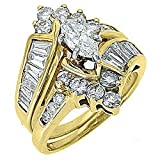 14k Yellow Gold Marquise Baguette Diamond Engagement Ring Bridal Set 2.46 Carats