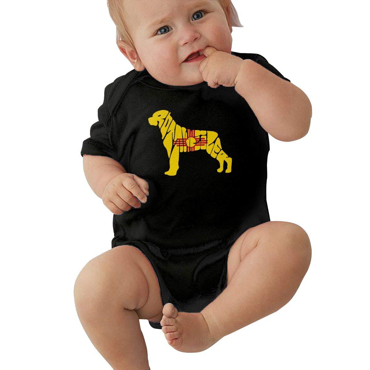 Mri-le2 Newborn Baby Short Sleeve Bodysuit New Mexico Flag Rottweiler Dog Kid Pajamas