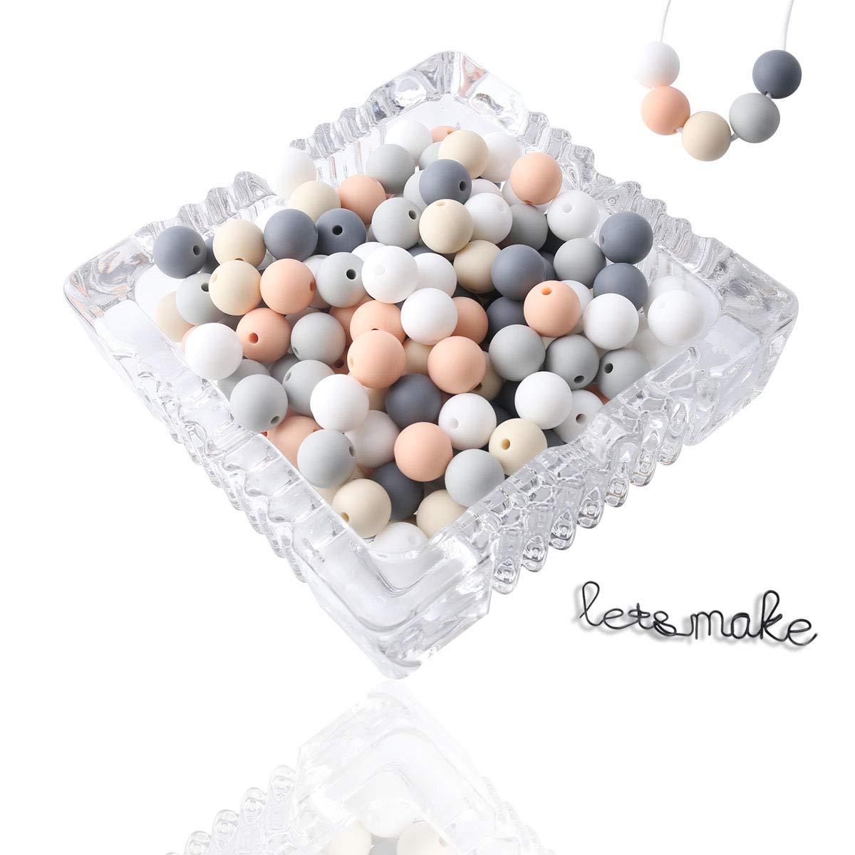 lets make Perle de Silicone Ensemble de Bricolage 12mm 100pc Perles /à M/âcher B/éb/é