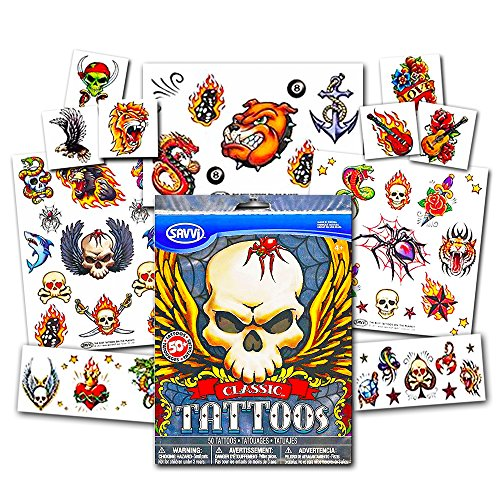 American Traditional Temporary Tattoos Set Kids Adults -- 30 Bold Classic Tattoos (Party Supplies)