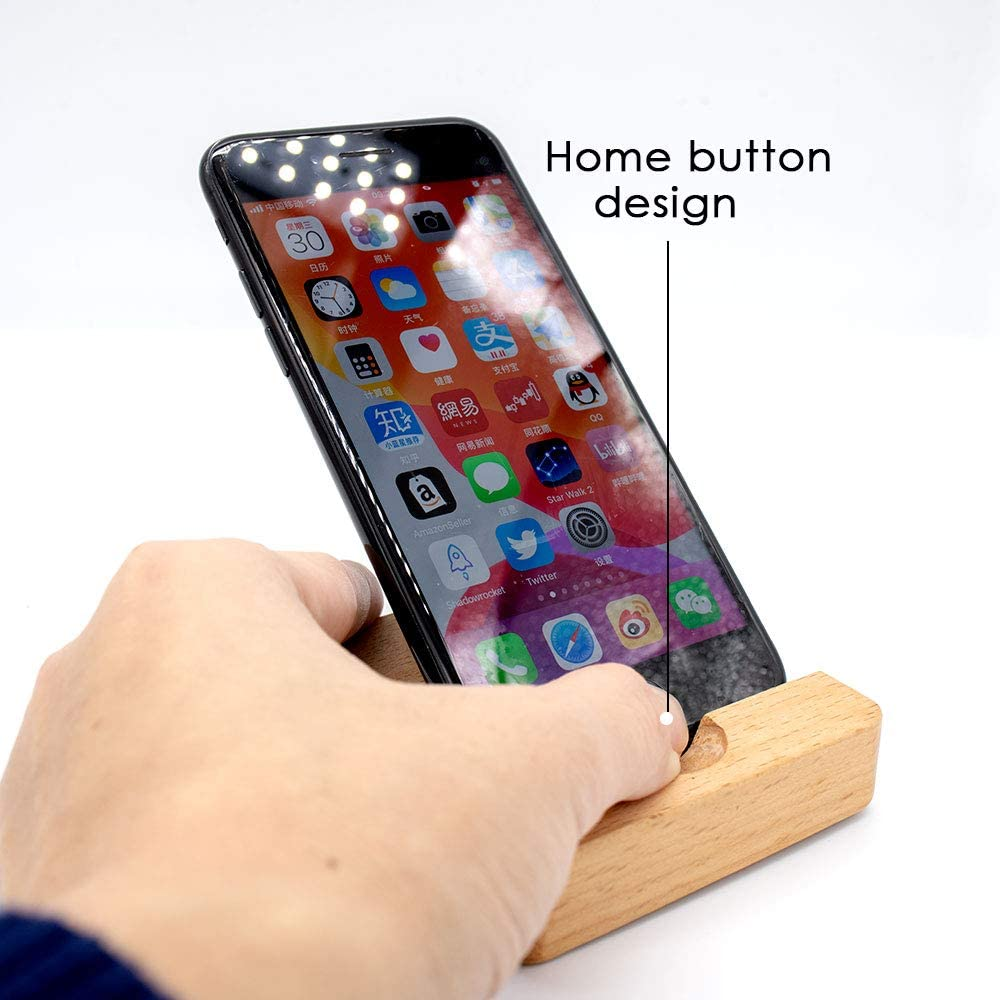 Phone Dock for Desk Smartphones Stand Solid Wood Dock for All Kinds of Smartphones Desktop Phone Holder Cell Phone Stand