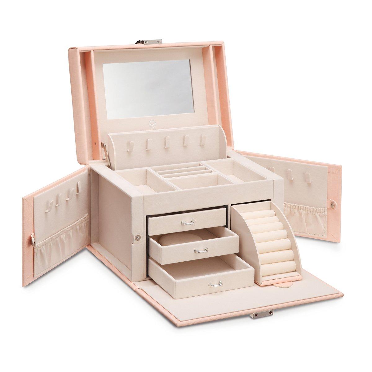 Vlando Jewelry Box, Faux Leather Medium Jewelry Organizer, Vintage gift for Women -Pink-Cross Pattern by Vlando (Image #2)