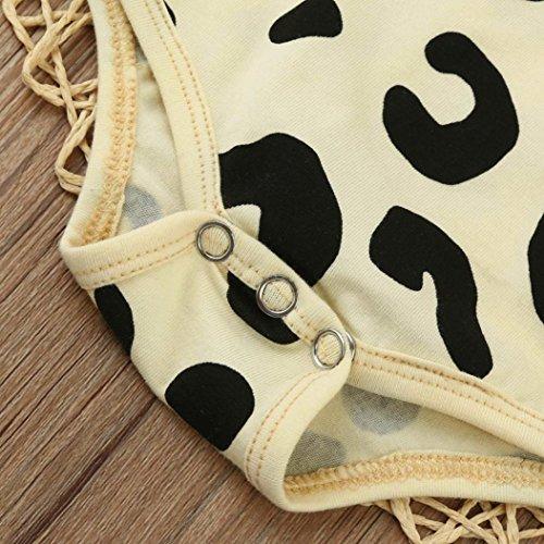 Omiky® Kleinkind-Baby-Jungen-langer Hülsen-Leopard-Druck-Spielanzug-Overall + Stirnband-Kleidung-Satz Beige