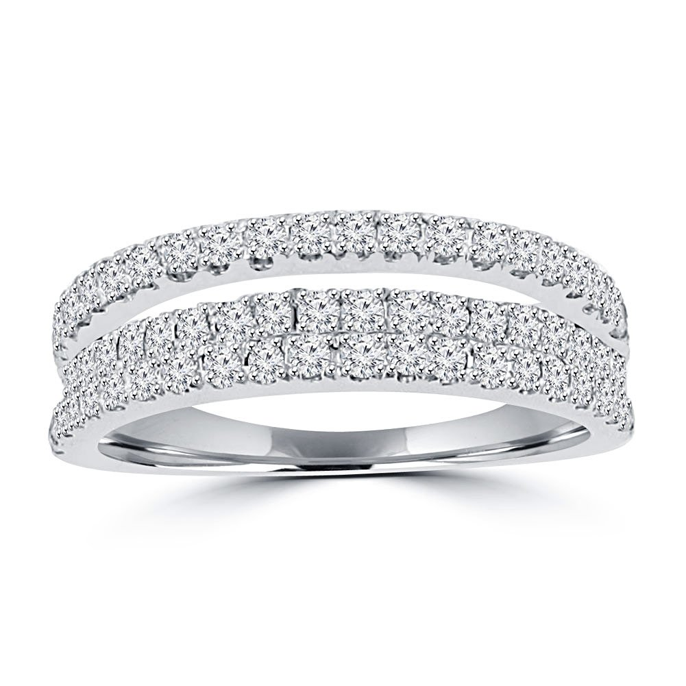 0.90 ct Ladies Round Cut Diamond Anniversary Wedding Band Ring in 14 kt White Gold In Size 9