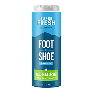 Natural Odor Eliminator Foot Powder & Shoe Deodorizer - Stop Stinky Feet & Shoe Odor. Super Fresh Foot and Shoe Powder by SweatBlock