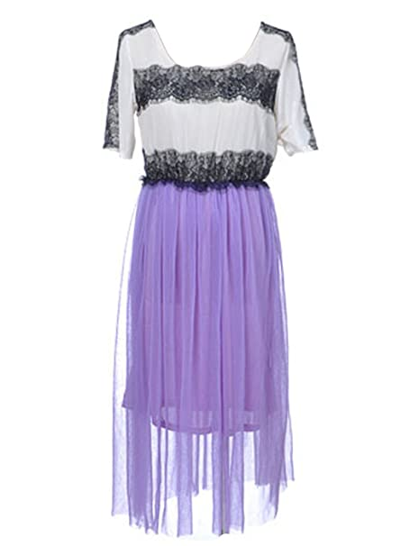 a8464159817a Anna-K S M Fit Off-White Purple Boho Inspired Dress w Black Lace ...