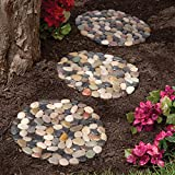 Bits and Pieces - Round Riverstone Stepping Stones Set - Decorative...