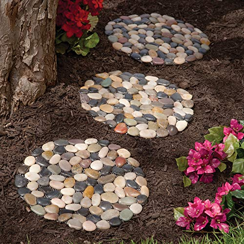 Bits and Pieces - Round Riverstone Stepping Stones Set - Decorative Stones for Your Garden (Covered Stone Patio)