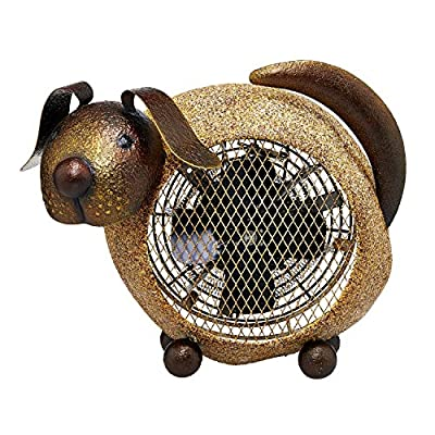 """CC Home Furnishings 13"""" Cream and Brown Cast Metal Dog 2-Speed Heater Fan"""