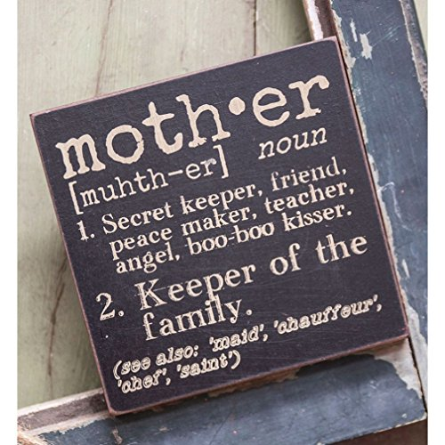 Happy Mothers Day Sign (The Definition of Mother - Decorative Wood Sign 6-in x 6-in by Hearthside Collection)