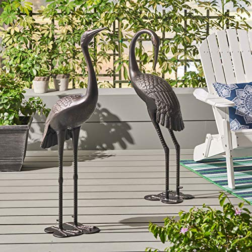 Deco 89 AL 2092 (Set of 2) Garden Decor Outdoor 33″ and 29″ Inch White/Yellow Aluminum Cranes