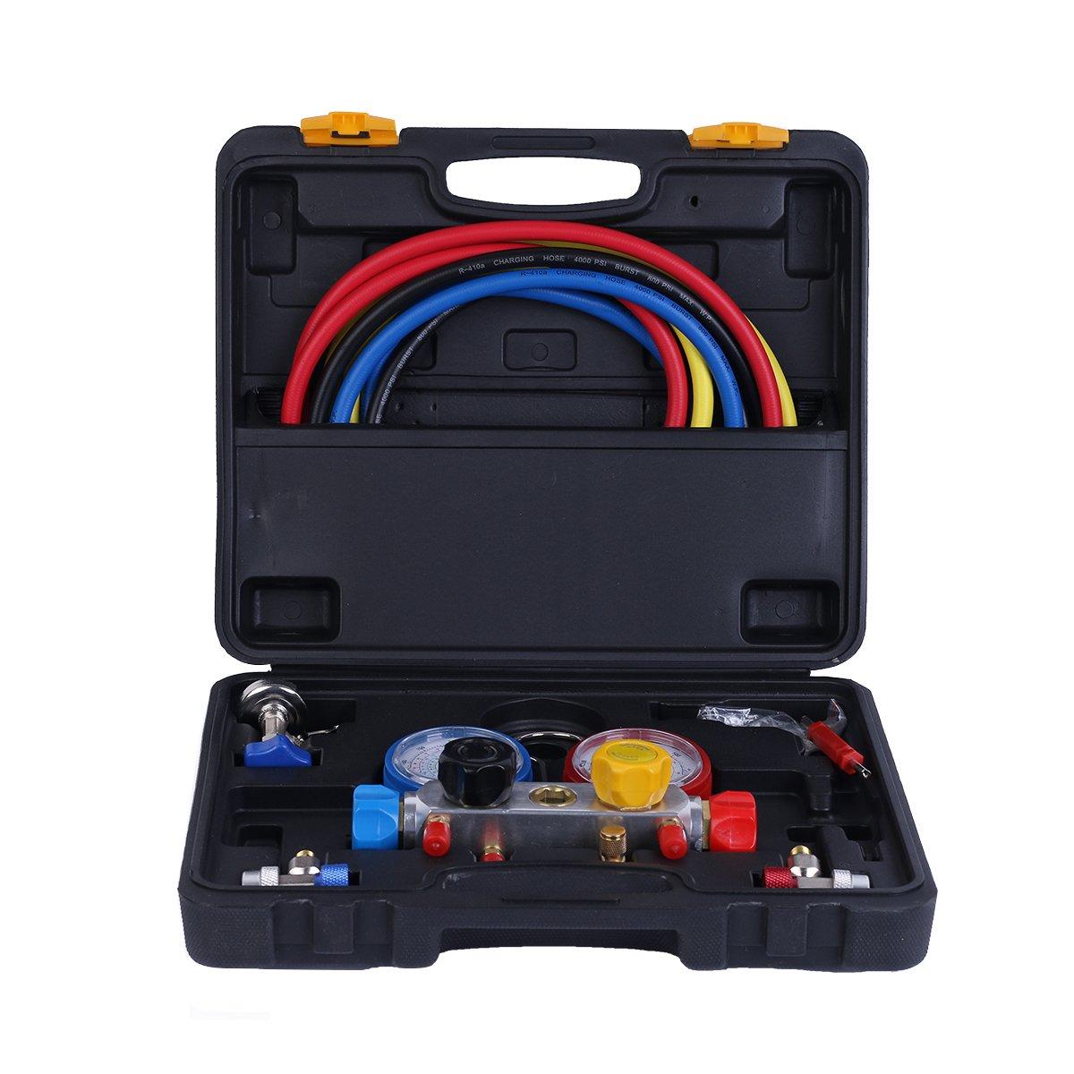 vismile Manifold Gauge Kit Set Charging Hose R134A R12 R22 R502 AC Refrigerant 3 ft