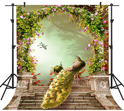 (FHZON 5x7ft Pretty Peacocks in The Garden Photography Backdrop Fantastic Dream Forest Artist Beautiful Garden Full of Spring Background Themed Party YouTube Backdrops Photo Studio Props FH1361)